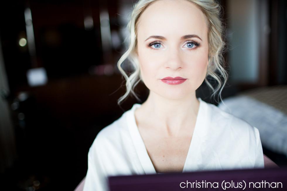 Bride in dark lipstick winter wedding