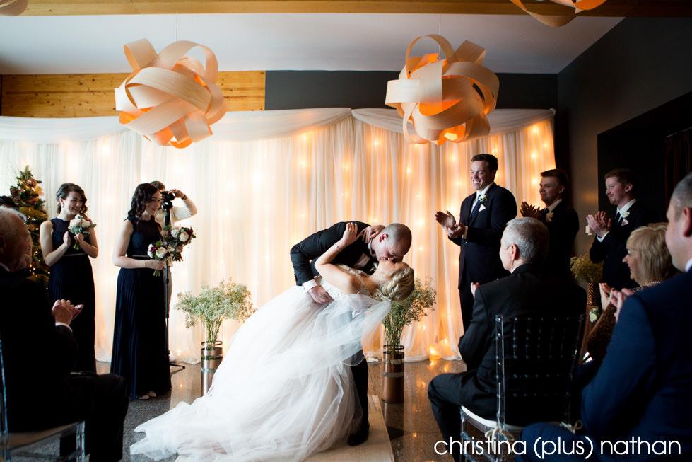 First kiss at Azuridge winter wedding wedding ceremony