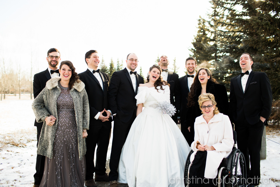 Calgary winter wedding Bridal Party