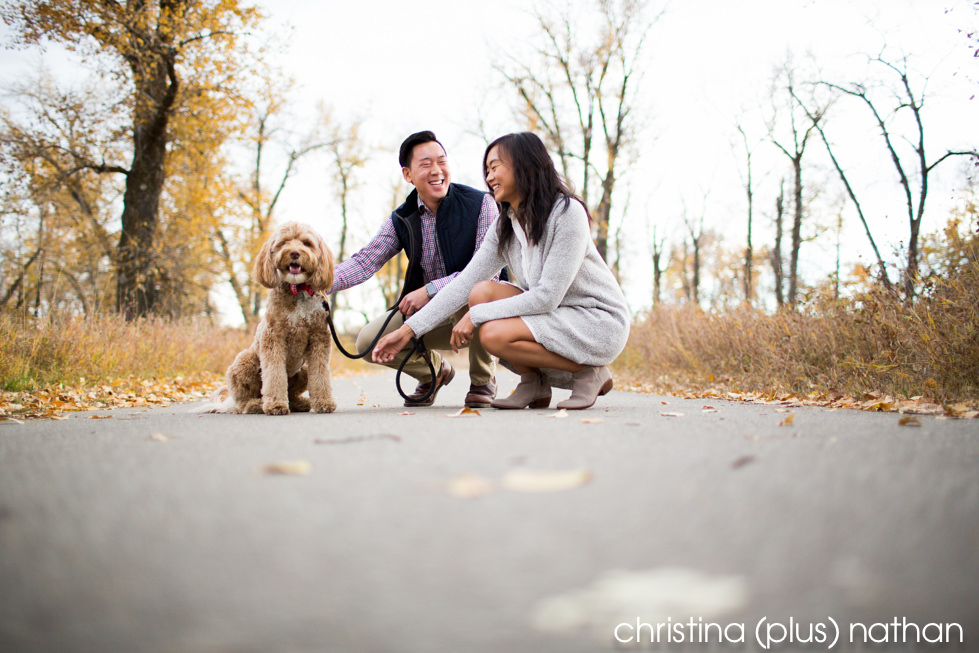 Calgary Fall Engagement with dog