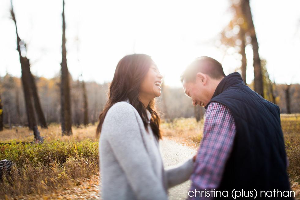 Laughing at Calgary Engagement natural photos