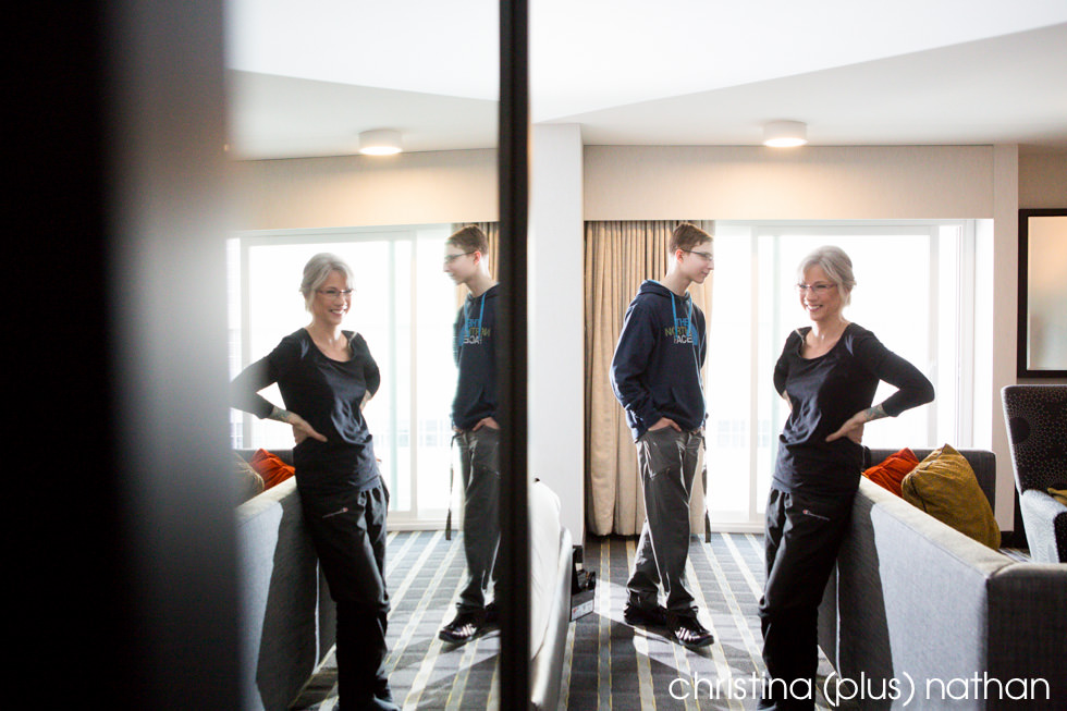 Hotel Arts Mirror Reflection Wedding