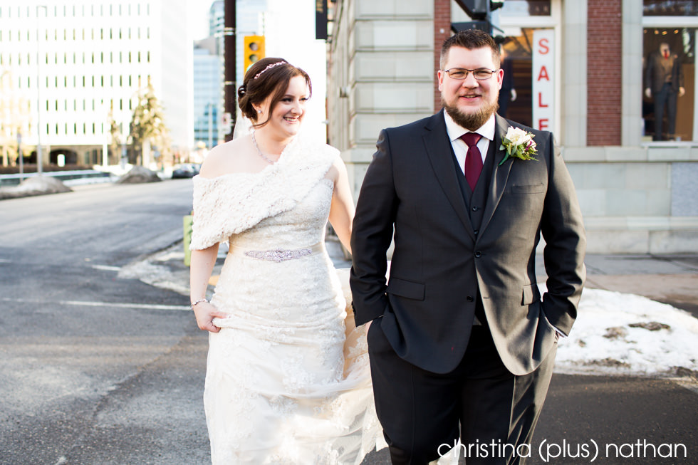 Calgary wedding photography walking Hotel Arts