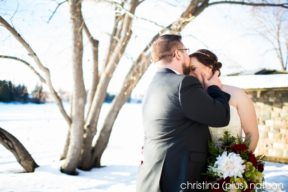 Bride and groom photo in Lake Bonavista winter wedding