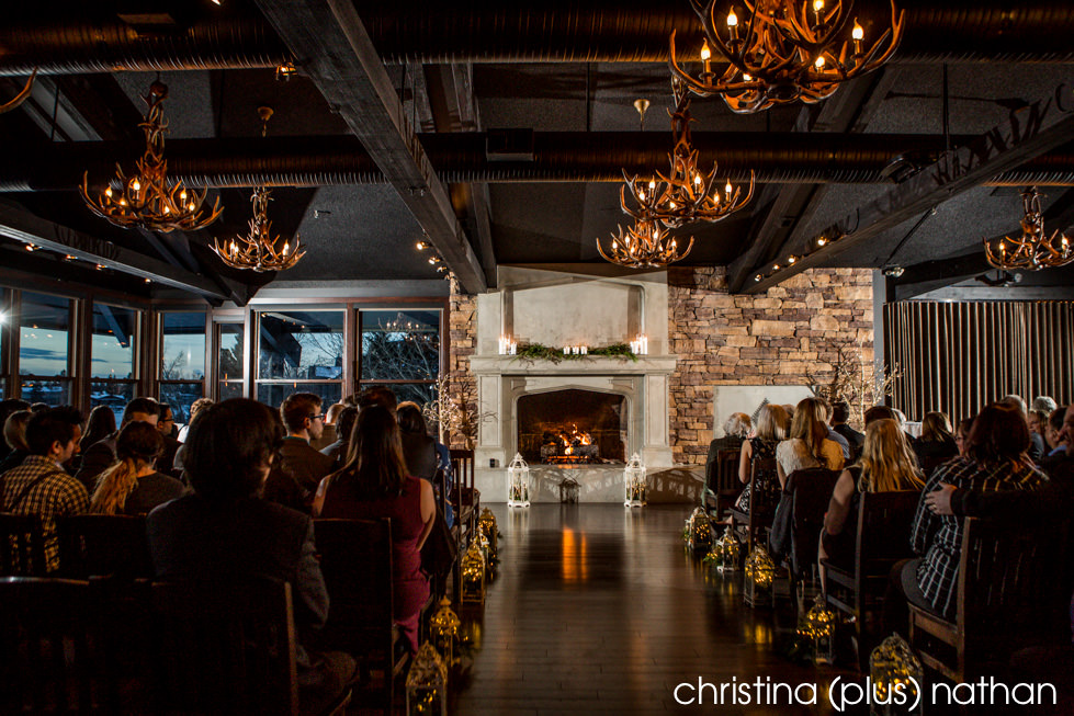 The Lake House ceremony space facing fireplace