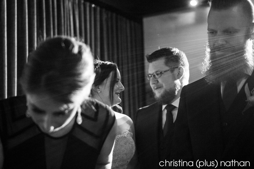 Black and White candid wedding ceremony