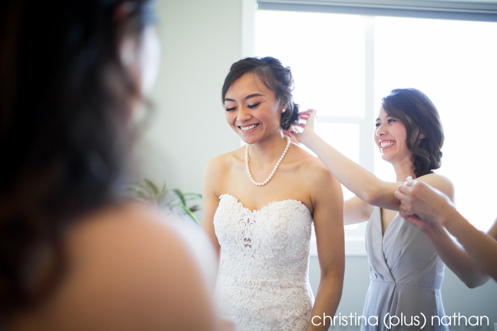 Bride gets ready for her spring Lake House wedding