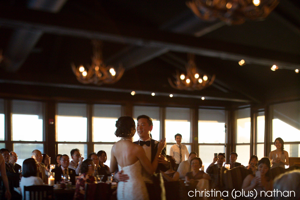 Bride and groom first dance at The Lake House restaurant