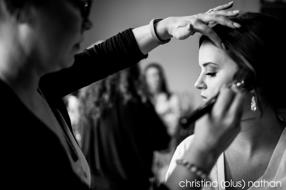 Bride gets ready for her Sheraton Eau Claire wedding in Calgary