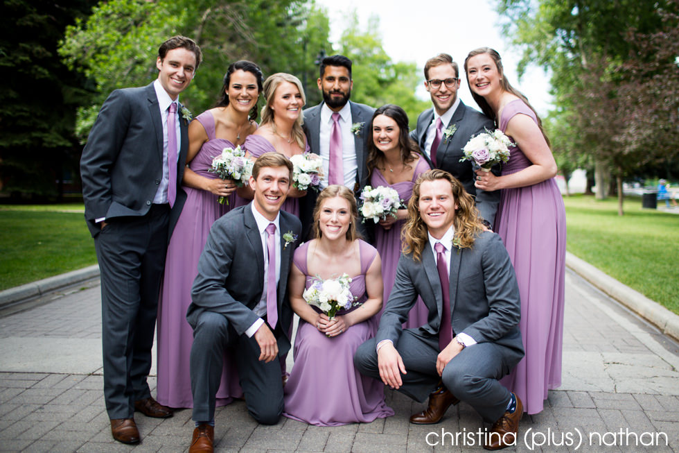 Wedding party portrait at Calgary's Eau Claire