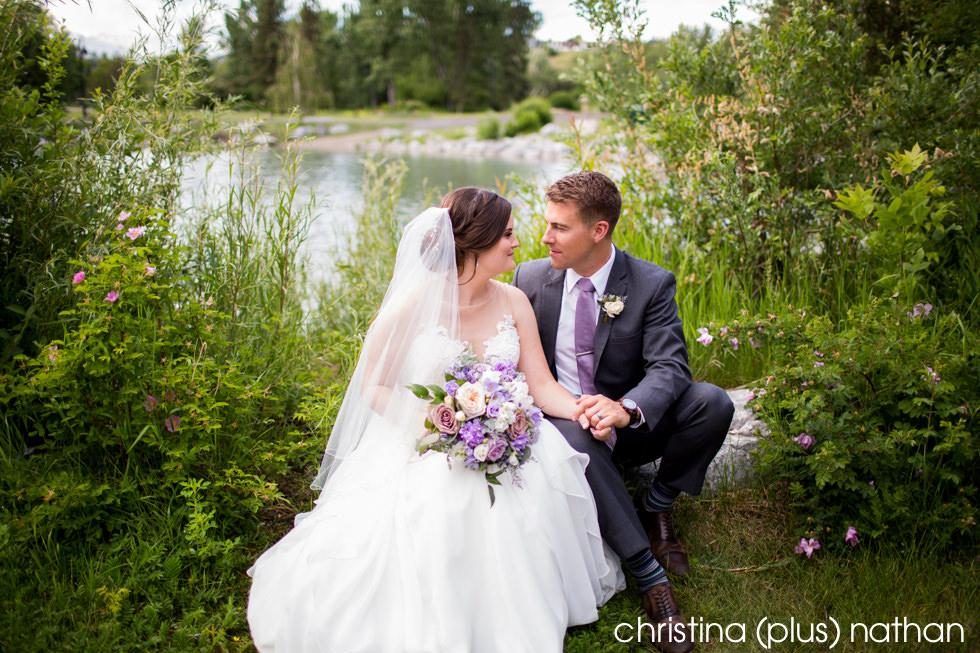 Bride and groom wedding photo in Calgary's Prince's Island Park