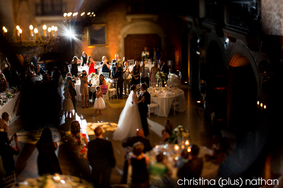 Bride and groom's first dance at their Banff Springs Hotel wedding reception photographed by christina (plus) nathan