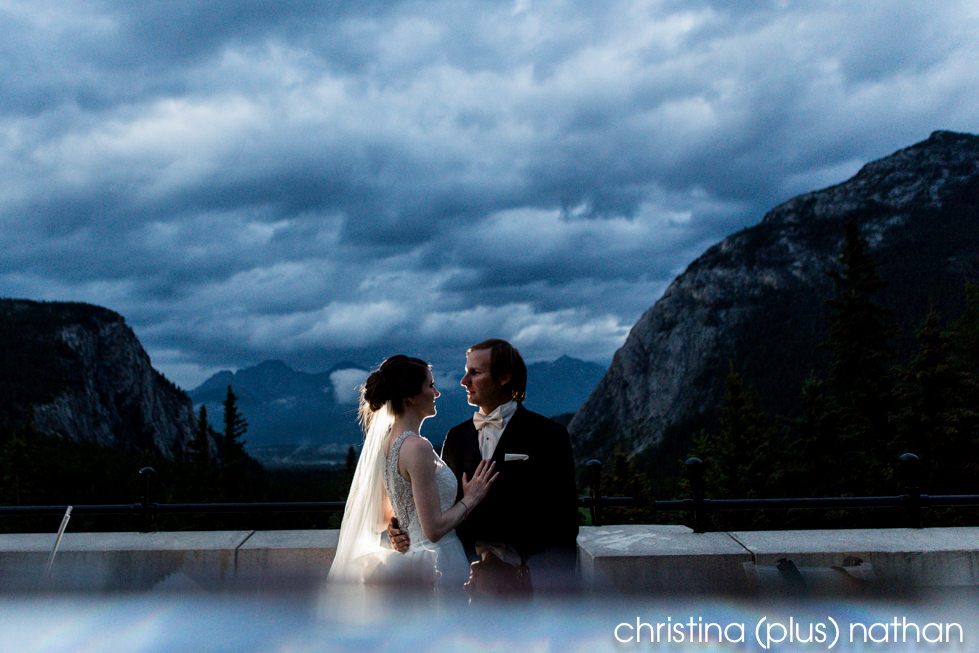 Wedding portrait at Banff Springs Hotel with the Bow Valley in the background
