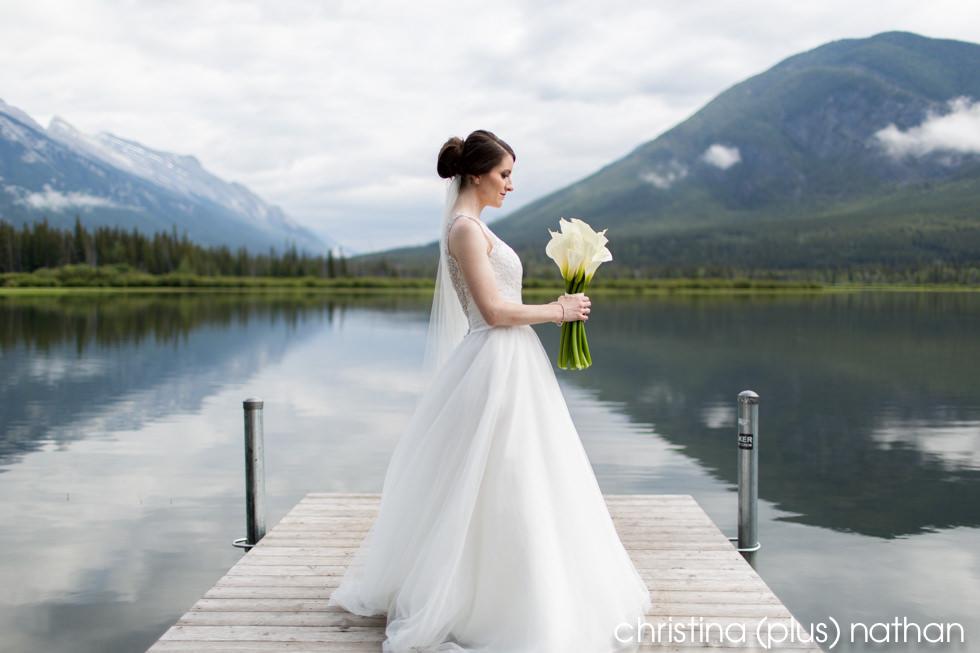 Bridal portrait photographed at Vermillion Lakes in Banff