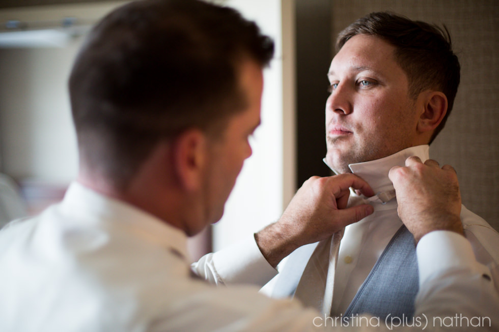 Groom prepares for his Fort Calgary Wedding