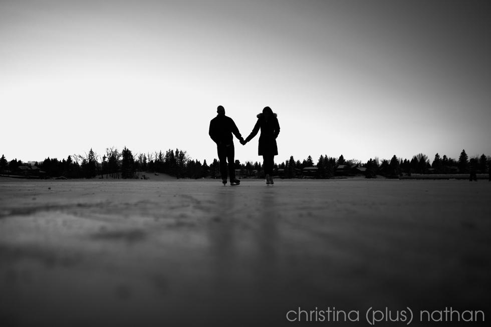 Lake Bonavista winter engagement session photographed by Calgary wedding photographers christina (plus) nathan photography